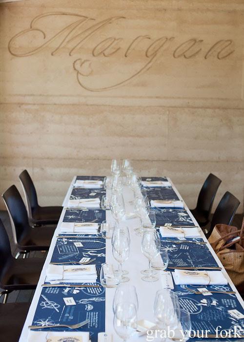 Dining table at Margan Wines in Broke, Hunter Valley