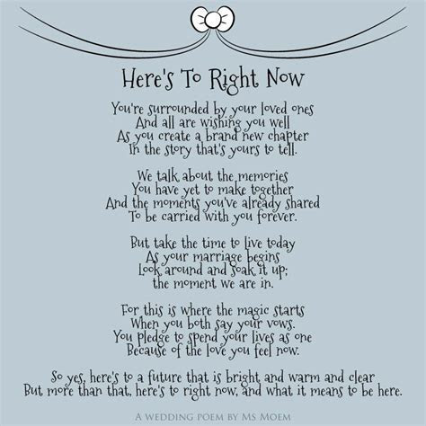 Here's To Right Now ~ Wedding Poem   Wedding Poems