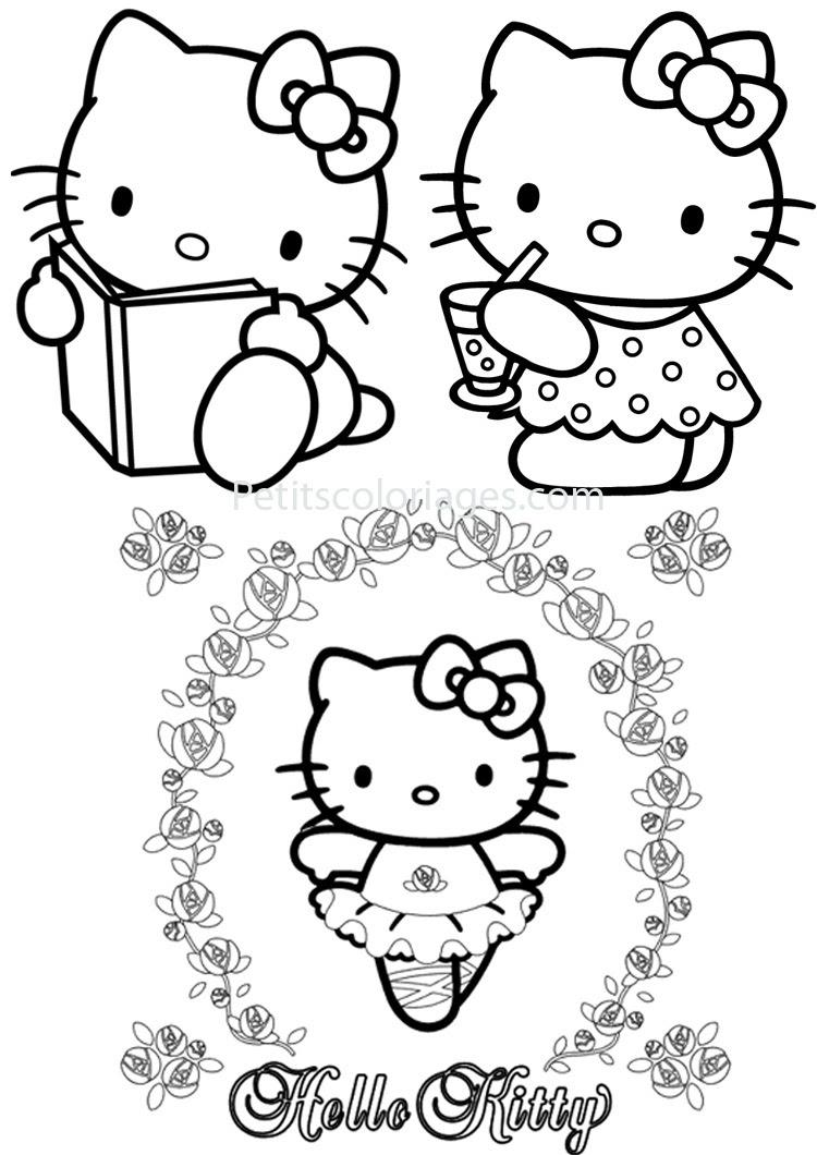 4 Coloriages Hello Kitty Danseuselivre Sur Petitscoloriagescom