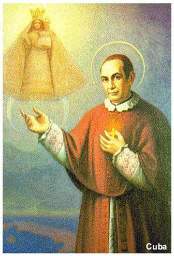 St. Anthony Mary Claret pointing to Our Lady of Charity, Patroness of Cuba.