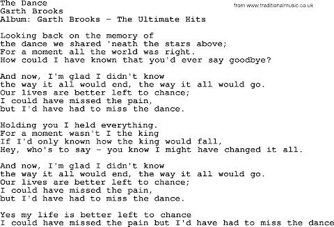 The Dance Garth Brooks Lyrics