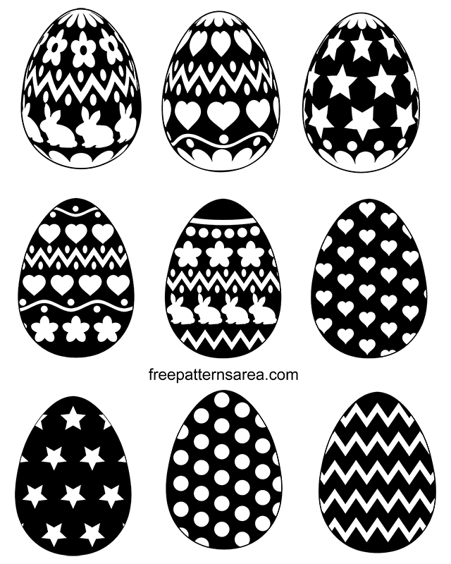 Black And White Easter Egg Silhouette Vector Shapes Freepatternsarea