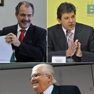 Acima: Aloizio Mercadante (esq.) e Fernando Haddad; abaixo: Marco Antônio Raupp (Foto: Agência Brasil)