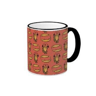 Egyptian Fish, Crocodile on Red Ringer Coffee Mug