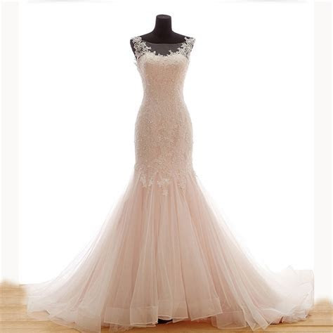 Light Pink Mermaid Wedding Dresses with Beading 2015 Lace