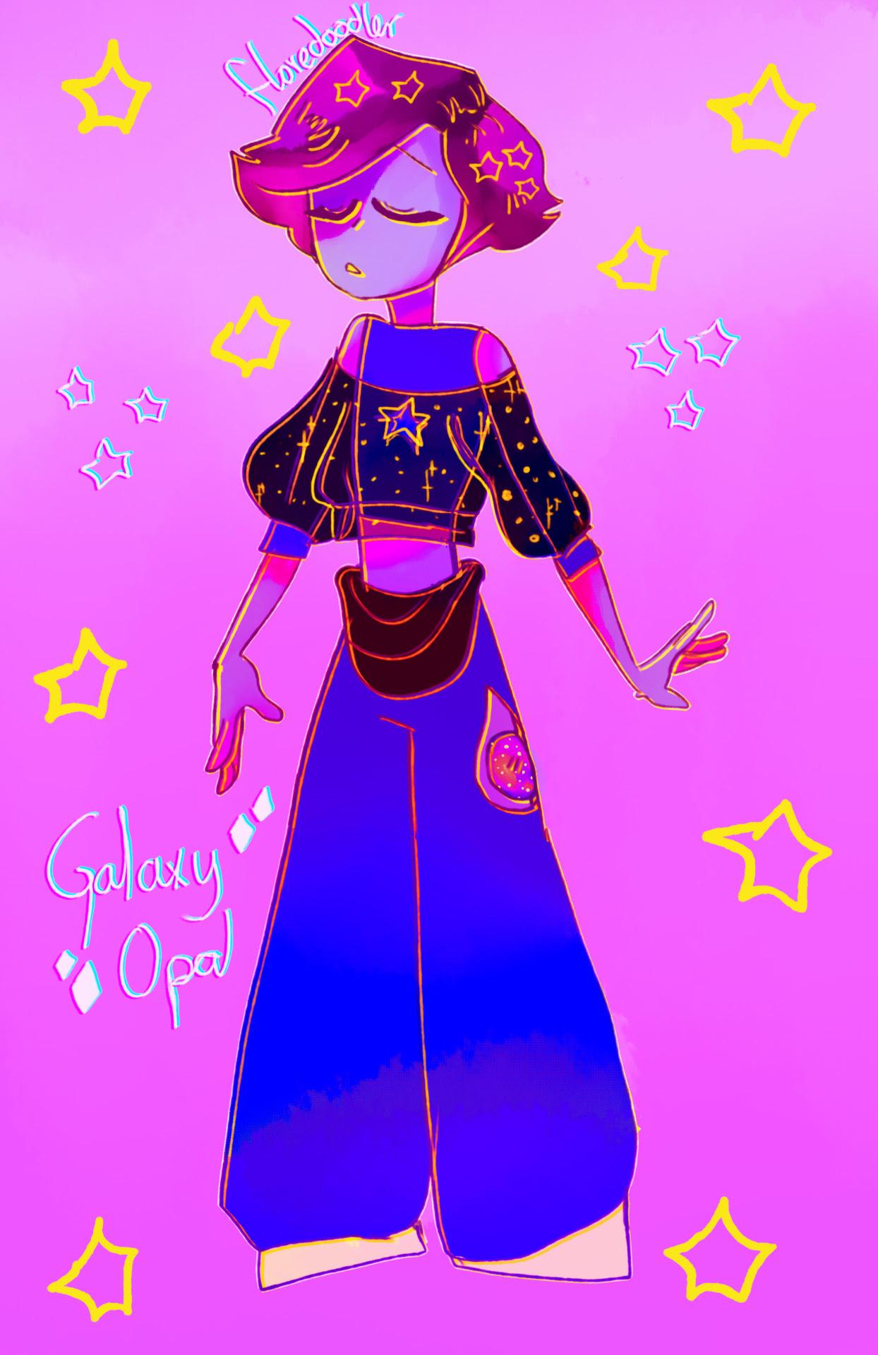 Galaxy Opal!! mi tiny gay male gem rebel….. (the redesign of my old gemsona)