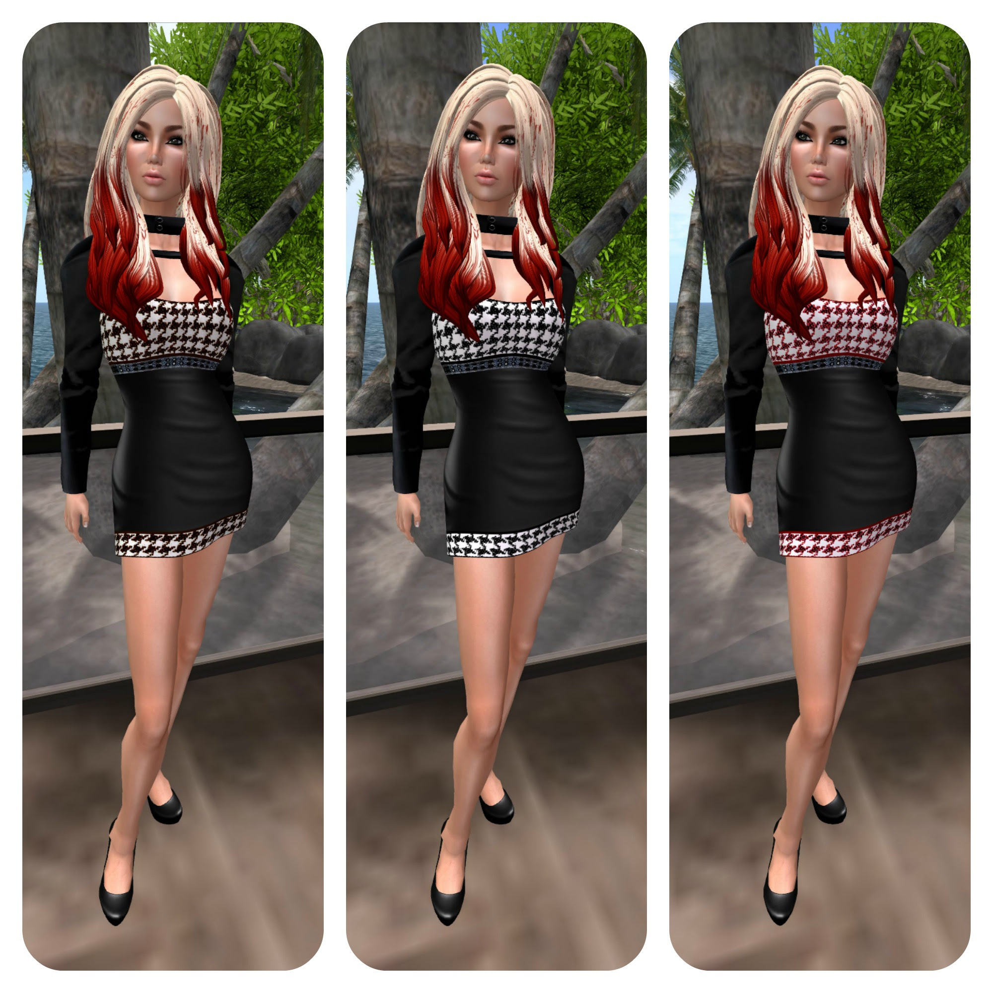 **Feel* Hounds tooth mini dress feat tameless hair