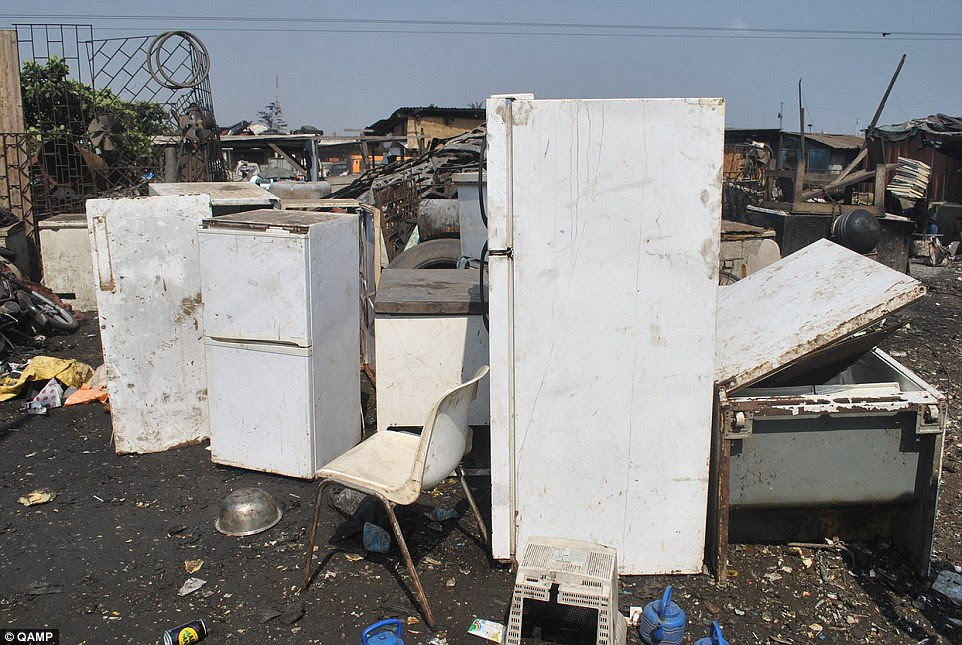 Toxic: Old fridges (pictured) that now reside in filthy landfill sites such as Agbogbloshie contain chemicals called chlorofluorocarbons (CFCs) which damage the ozone layer