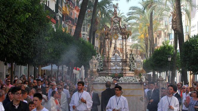 Imagen de la procesión del Corpus celebrada esta mañana