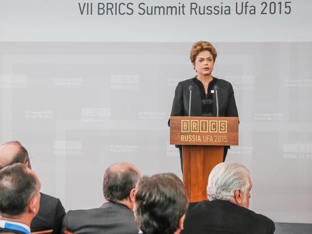 A presidente Dilma Rousseff, durante discuro diante do Conselho Empresarial do Brics, na Rússia (Foto: Roberto Stuckert Filho/PR)