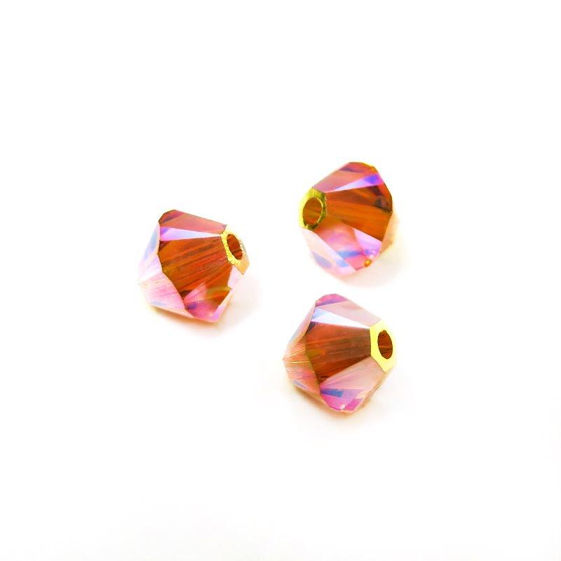 27753011525259 Swarovski Bead - 4 mm Faceted Xilion Bicone (5328) - Tangerine AB2 (36)