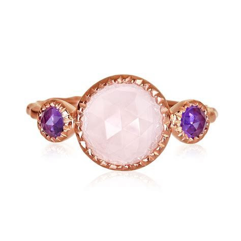 Brazilian Amethyst Rose Quartz Hammered Ring Rose Gold Plated