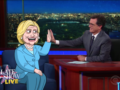 cartoon hillary clinton late show with stephen colbert cbs