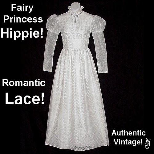 Vintage Bohemian Wedding or Prom Dress White Fairy Princess Maxi Floor