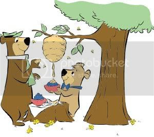Yogi Bear clipart of dinner--taking honey from a honeycomb!