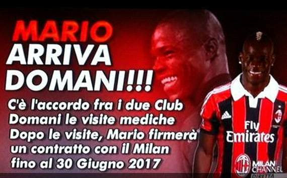 Mario Balotelli - Milan announcement on Milan Channel