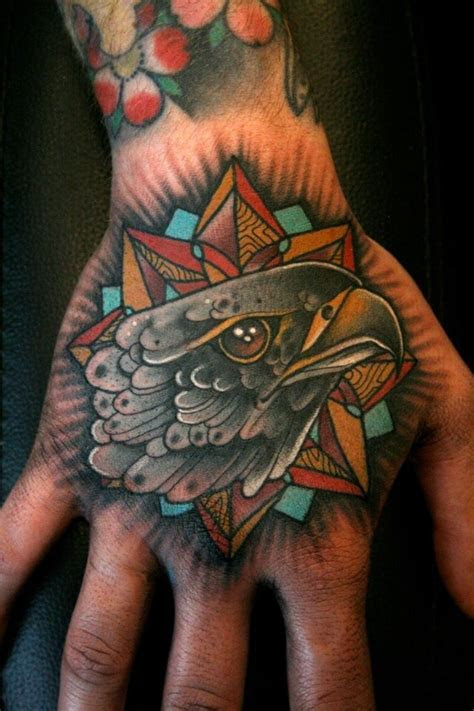 black ink shool style hand tattoo eagle stars