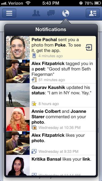 Facebook Poke - imagem retirada do site mashable.com