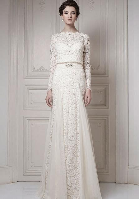 Ersa wedding dress lace long sleeves white ivory vintage