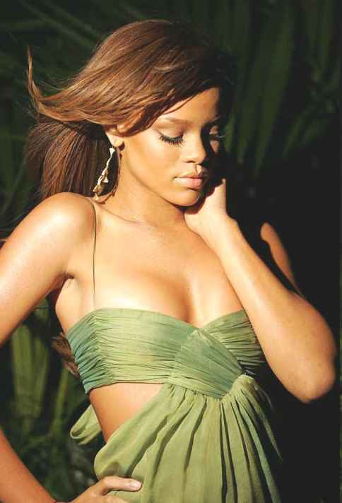 Rihanna sultry babadian singer in green dress
