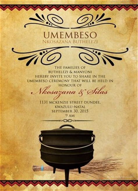South African Traditional wedding invitation Card