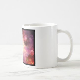 soulful eyes kitty surround by light bubbles classic white coffee mug