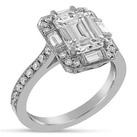 Emerald Cut Antique Style Diamond Engagement Ring With