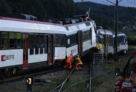 Driver dead in Swiss rail crash, 35 hurt