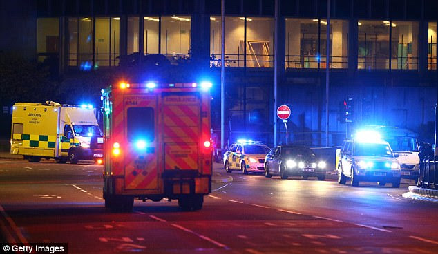 Emergency services arrive close to the Manchester Arena on May 23