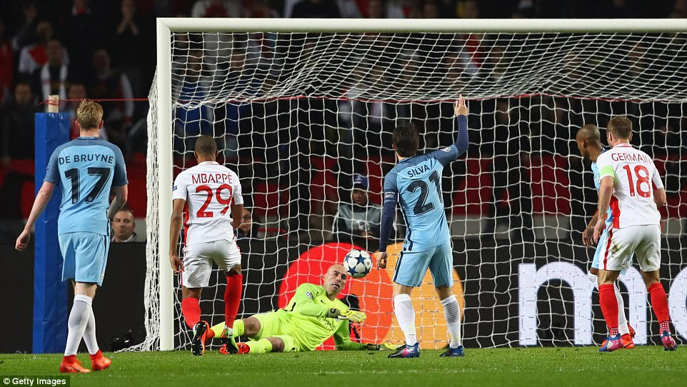 Kylian Mbappe fires the ball past Manchester City goalkeeper Willy Caballero to give Monaco the perfect start on Wednesday