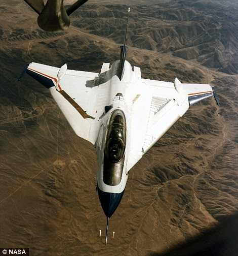 This Nasa F-16XL-2 aircraft was used during 1995-96 for the Supersonic Laminar Flow Control project to demonstrate that airflow could smoothly pass over a swept wing flying at supersonic speed.