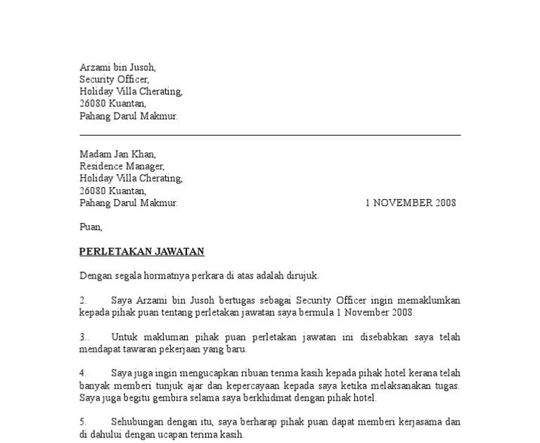 Surat Rasmi Perletakan Jawatan Notis Sebulan Selangor M