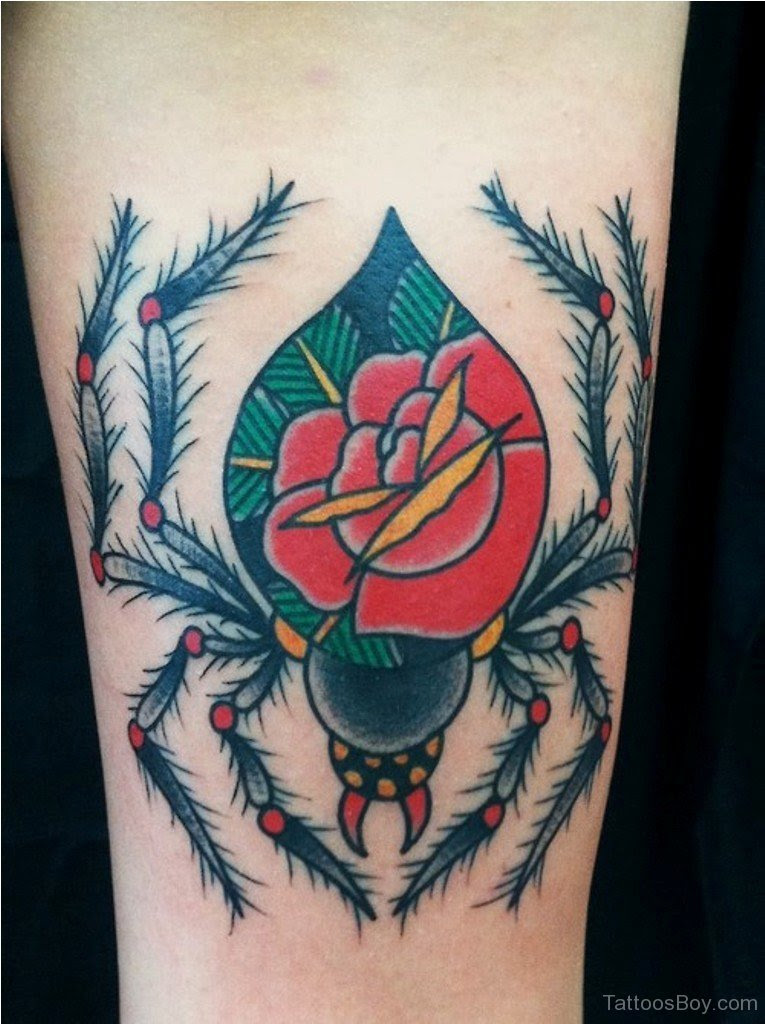 Traditional Red Rose Spider Tattoo On Arm Tattoo Designs Tattoo