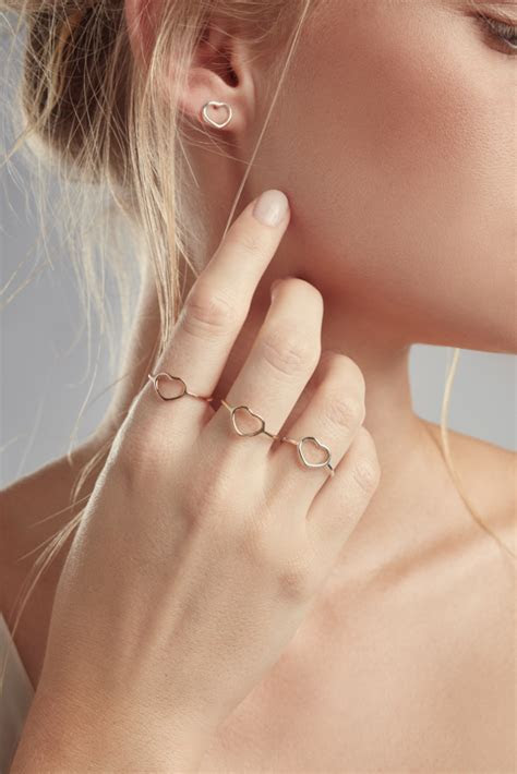 Fine Heart Ring Yellow or Rose Gold   Baby Anything