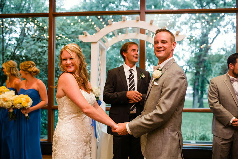 An indoor wedding at The Hyatt Lodge at McDonald's Campus, Oak Brook Illinois, Grand Oaks Pavillion Wedding. By Mindy Joy Photography