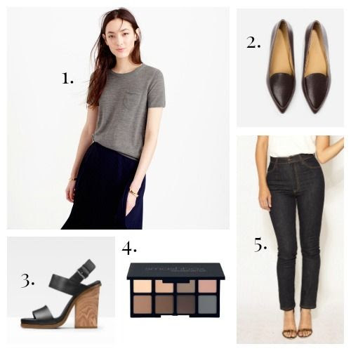 J.Crew Sweater - Everlane Flats - Vince Sandals - Smashbox Eyeshadow - Imogene + Willie Jeans