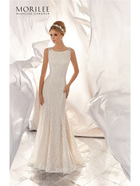 Mori Lee 6866 Mona Stretch Lace Bridal Gown Ivory