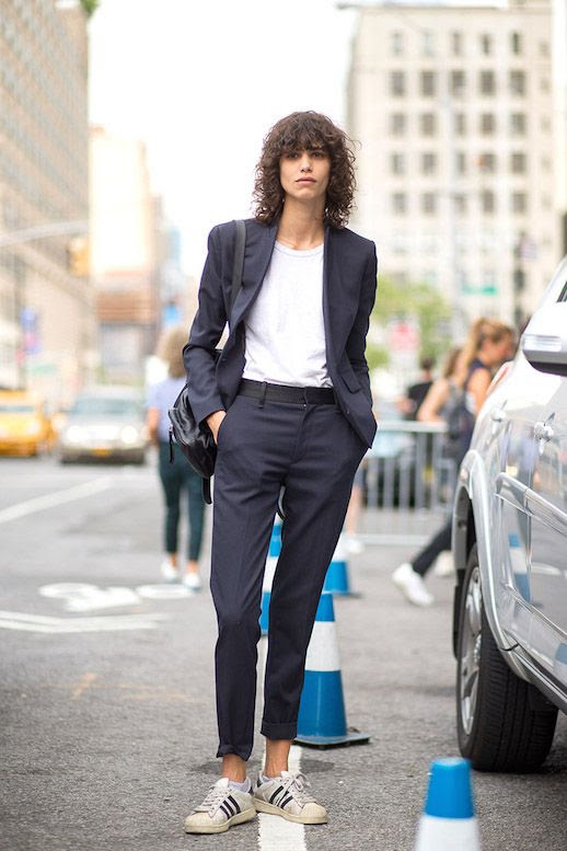 Le Fashion Blog 25 Ways To Wear Adidas Sneakers Suit White Tee Cuffed Pants Superstar Street Style Mica Arganaraz Via Harpers Bazaar