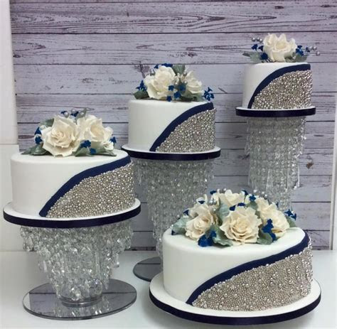 4 Tier Silver ball and navy blue wedding cake   cake by