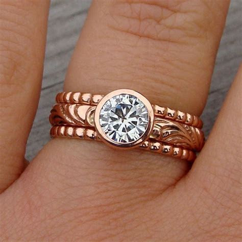 Custom Made Moissanite And Recycled 14k Rose Gold Stacked