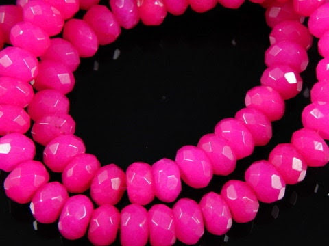 10 pc- Faceted Hot Pink Rondelle Jade Beads, 8x5mm