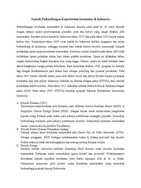 Sejarah Perkembangan Keperawatan Komunitas Di Indonesia