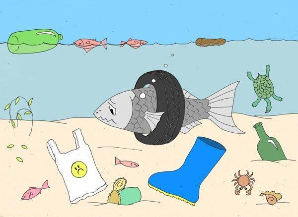 Imagen de playa contaminada