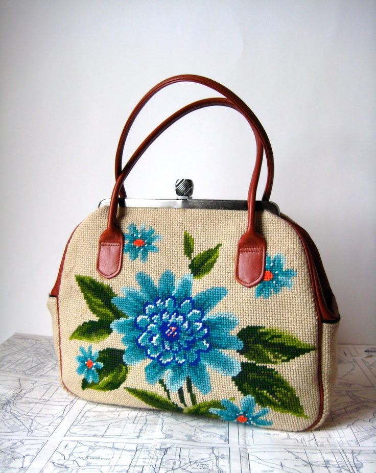 Vintage needlepoint floral purse