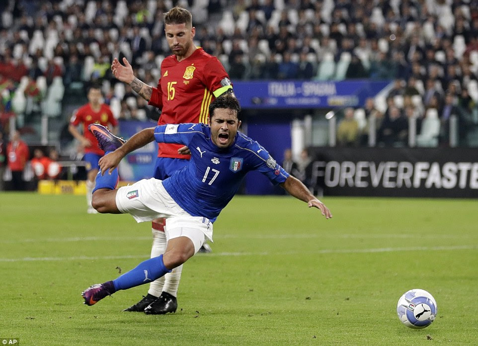 Spain captain Ramos was guilty of conceding a late penalty to Italy after bringing down Eder in the box
