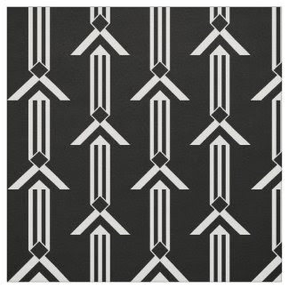 White Stripes and Chevrons on Black with Monogram Fabric
