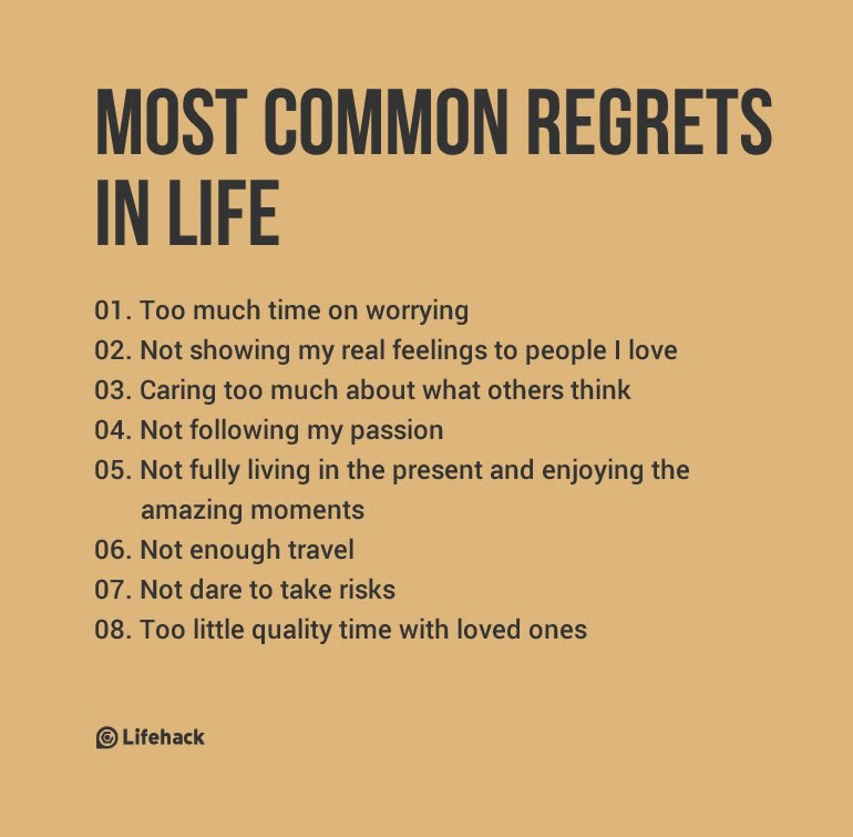 MOST COMMON REGRETS IN LIFE