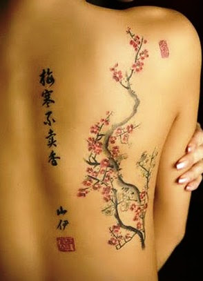 Cherry Blossom Flowers Tattoo On Right Back Shoulder