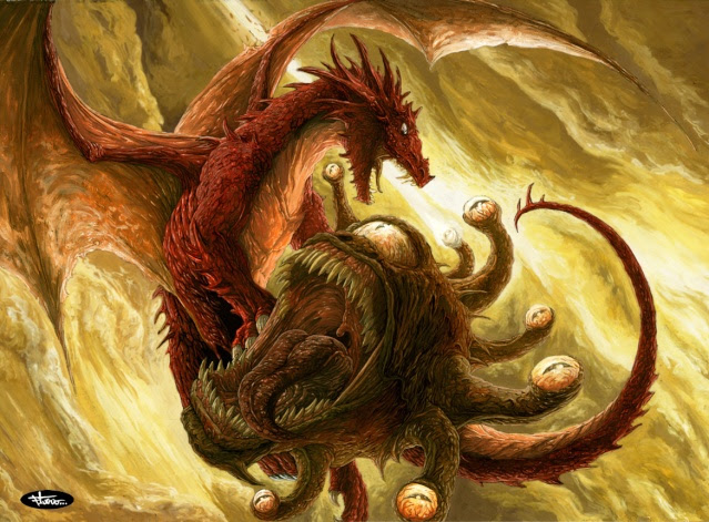 A Red Dragond and a Beholder
