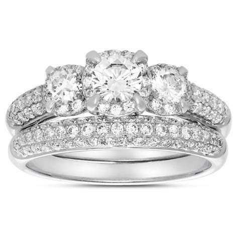 2 Carat Three Stone Trilogy Round Diamond Wedding Ring Set